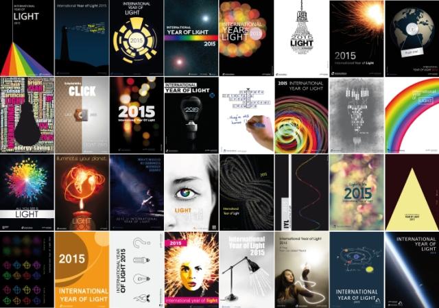 Plakate zum International Year of Light, gestaltet von Studenten der Hochschule Offenburg