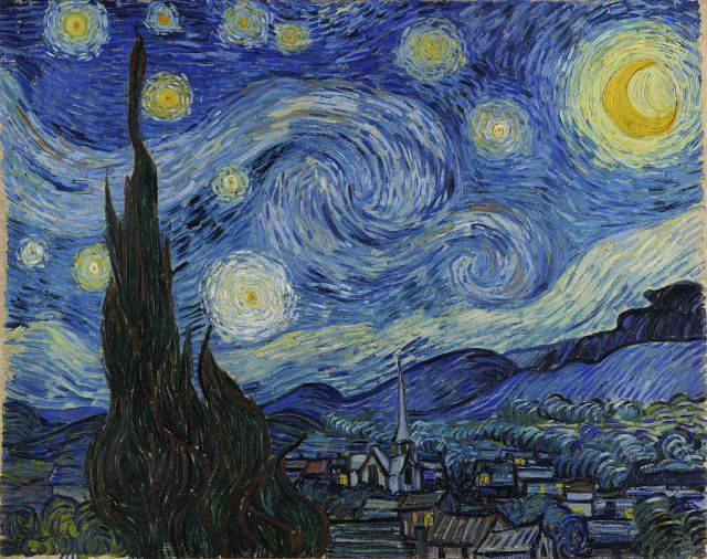 Sternennacht, 1889, Vincent van Gogh [Public domain], via Wikimedia Commons
