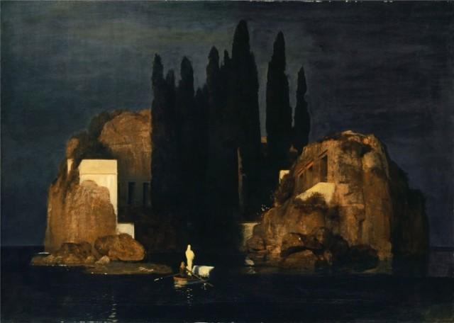 Arnold Böcklin: «Die Toteninsel» (Erste Fassung), 1880. Öl auf Leinwand, 110,9×156,4 cm. Quelle: Kunstmuseum Basel