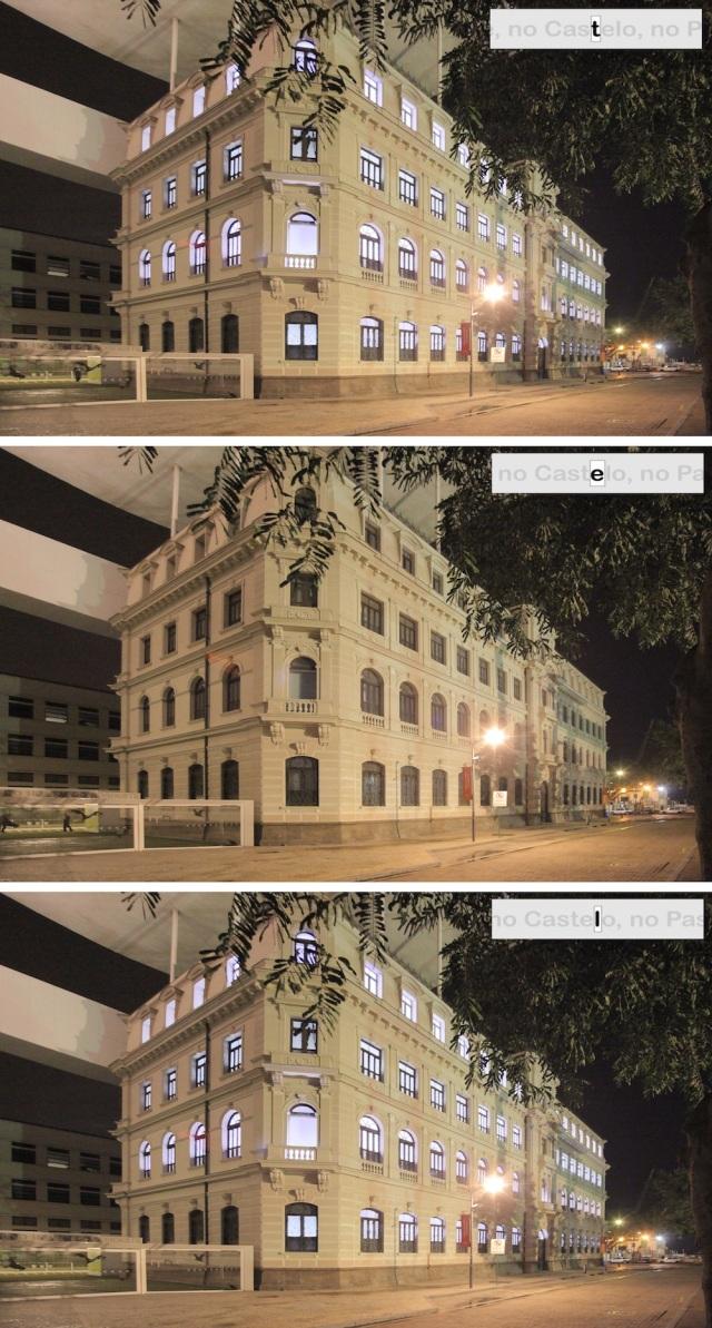 """Lichtinstallation """"SOS Poesia"""" im Museu de Art do Rio (MAR) in Rio de Janeiro, 2015, Dirk Vollenbroich (© Dirk Vollenbroich)"""